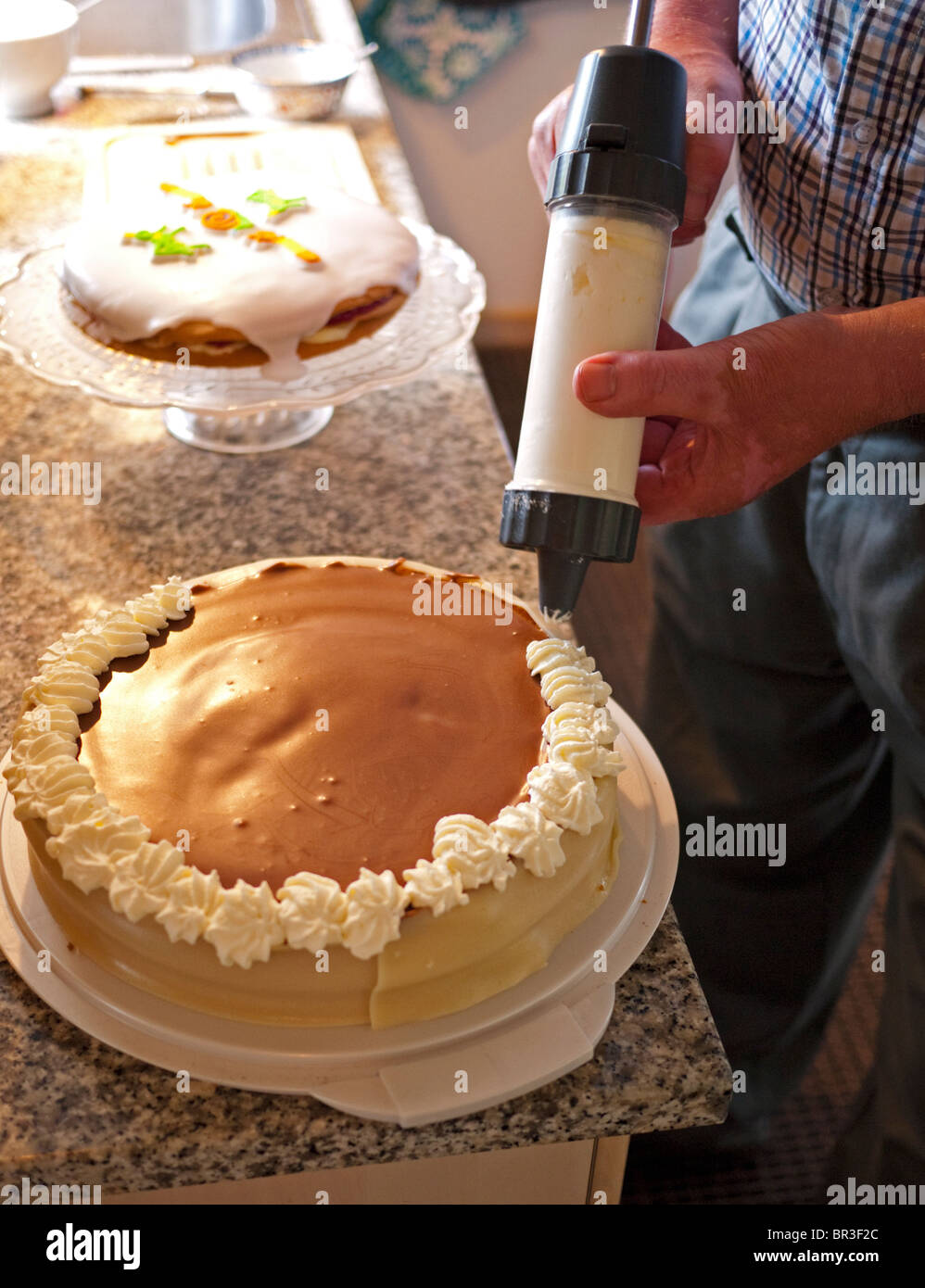 Peachy Chef Making A Birthday Cake Stock Photo 31425140 Alamy Birthday Cards Printable Nowaargucafe Filternl