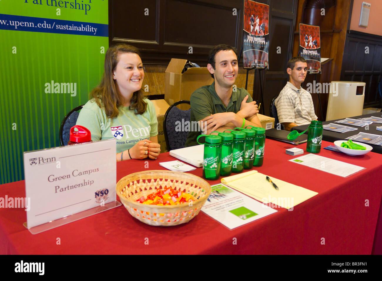 Green Campus Partnership table at student orienatation session at University of Pennsylvania, Philadelphia, USA - Stock Image