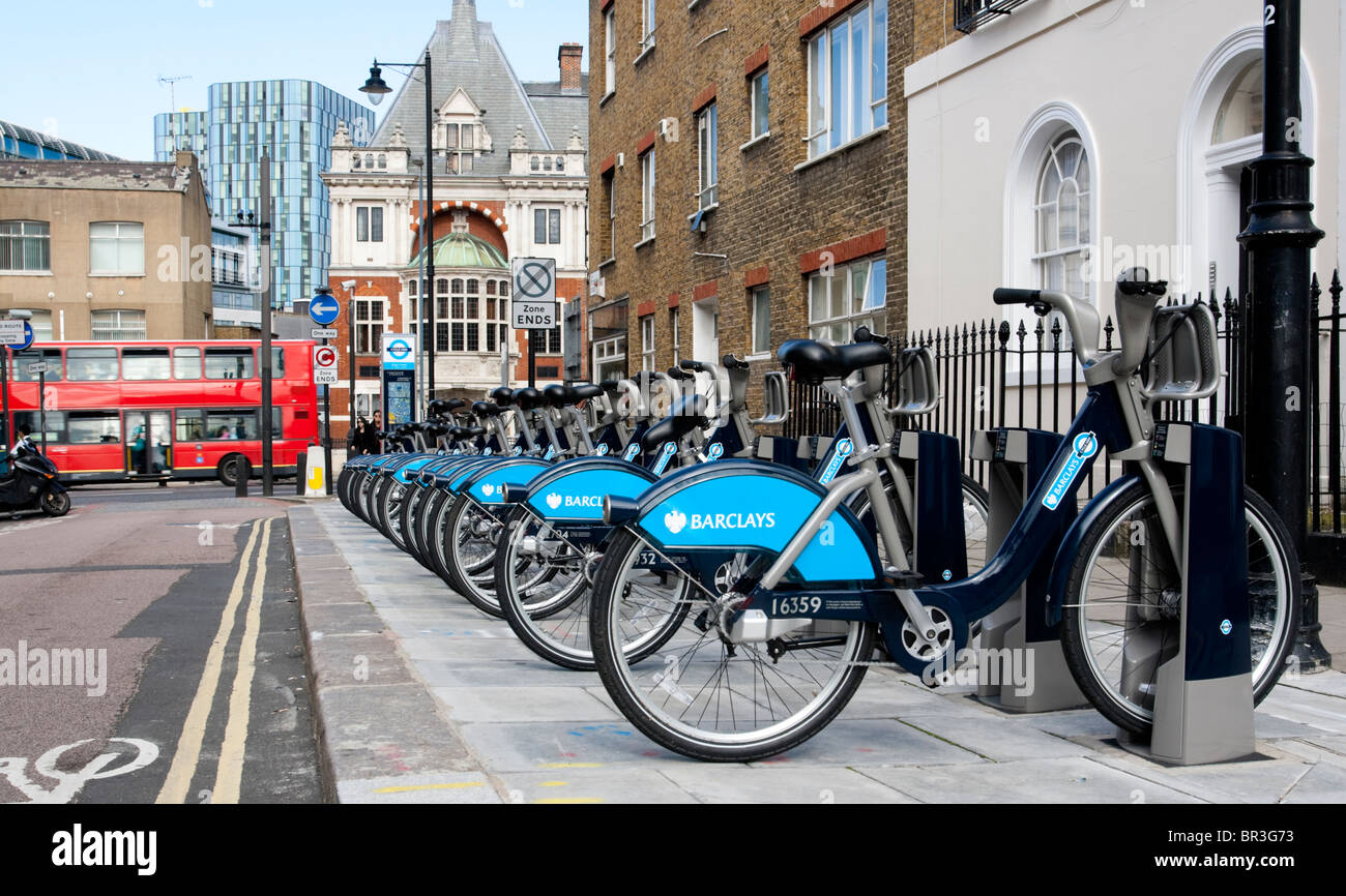 Bicycle docking station as part of the new London's Barclay's bicycle hire scheme, NW1, England, UK. - Stock Image
