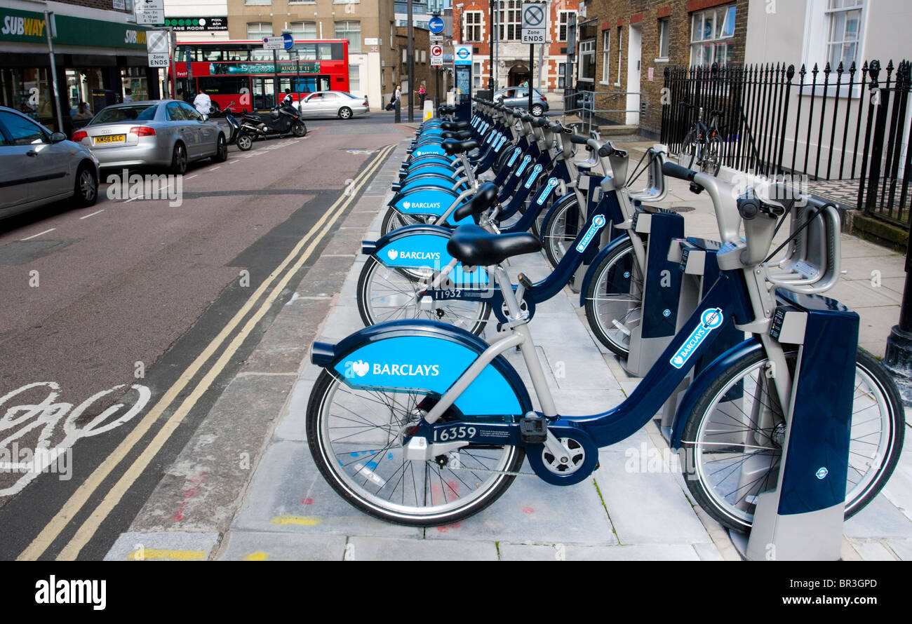 Bicycle docking station as part of the new London's Barclay's bicycle hire scheme, NW1, England, UK - Stock Image
