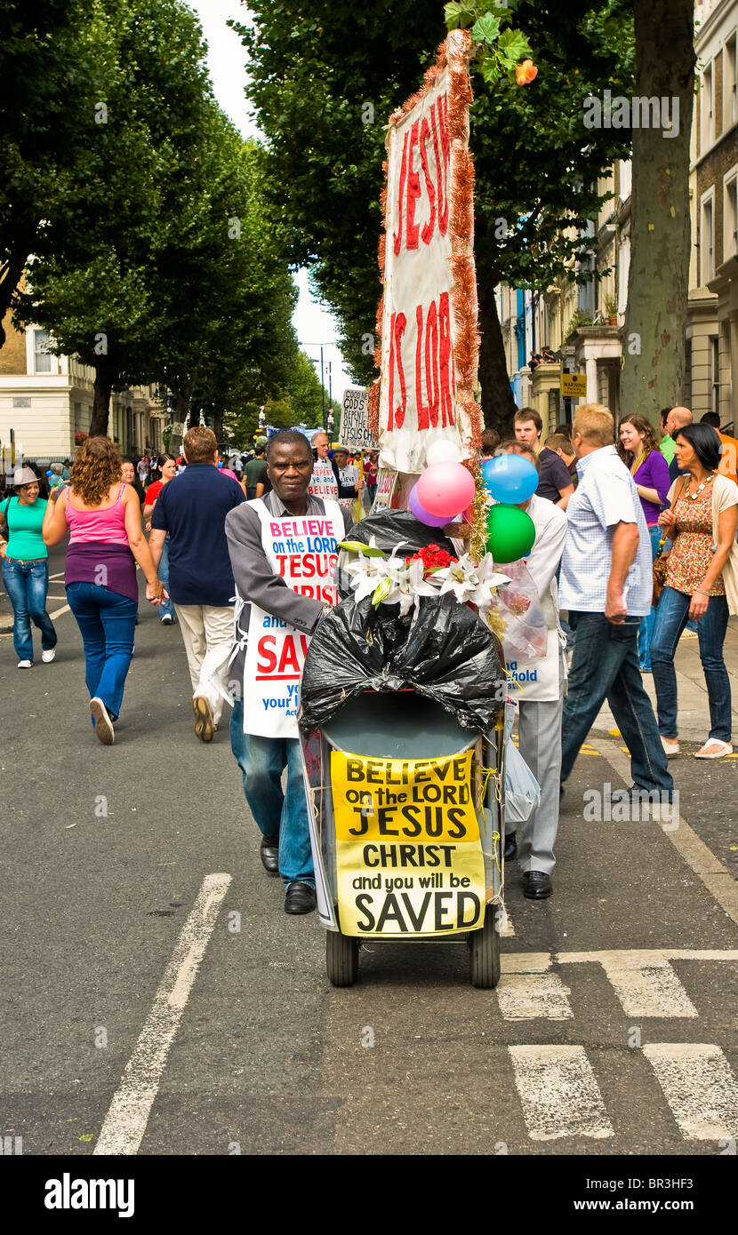 A street evangelist communicating his message at the 2009 Notting Hill Carnival Stock Photo