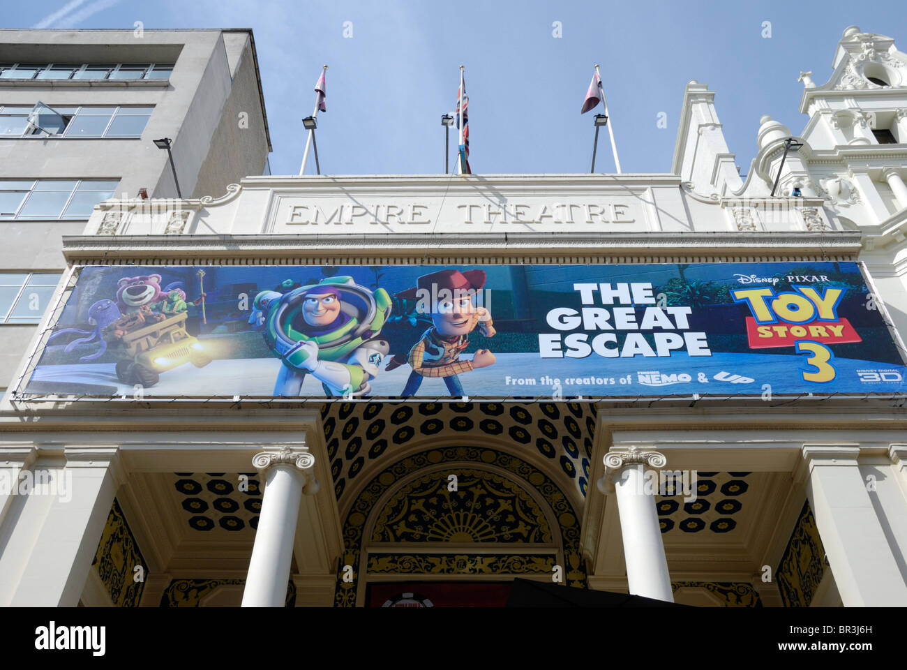 A large billboard outside the Empire Leicester Square cinema for the film 'The Great Escape - Toy Story 3', - Stock Image