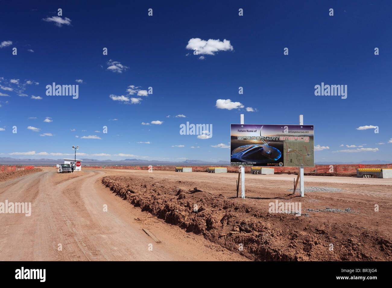 General view of the entrance to Spaceport America, a commercial spaceport under construction in rural New Mexico. - Stock Image