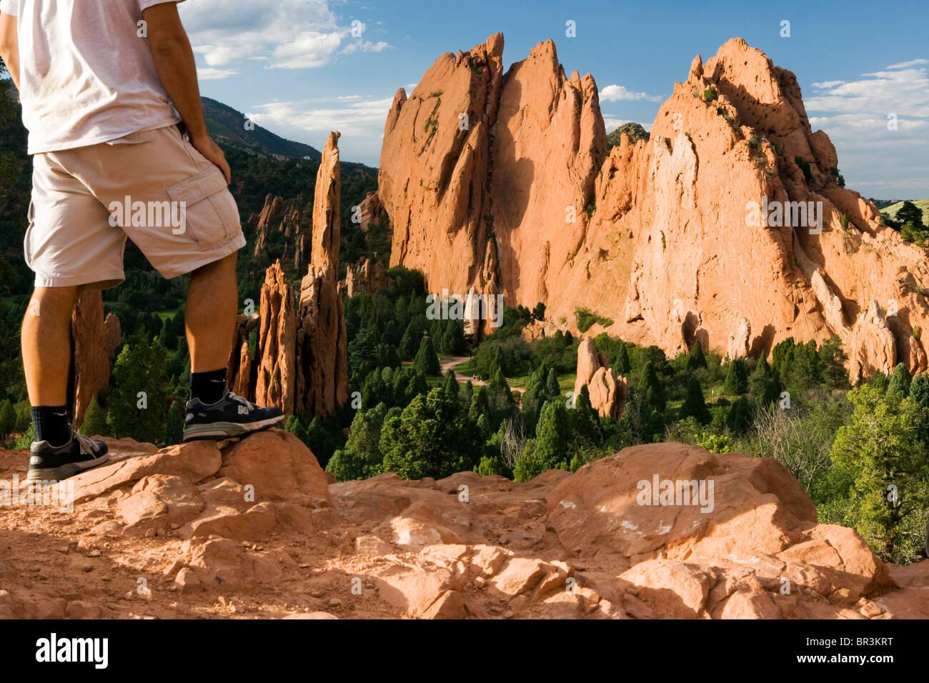 Person in Garden of the Gods Landscape - Colorado Springs, Colorado USA - Stock Image