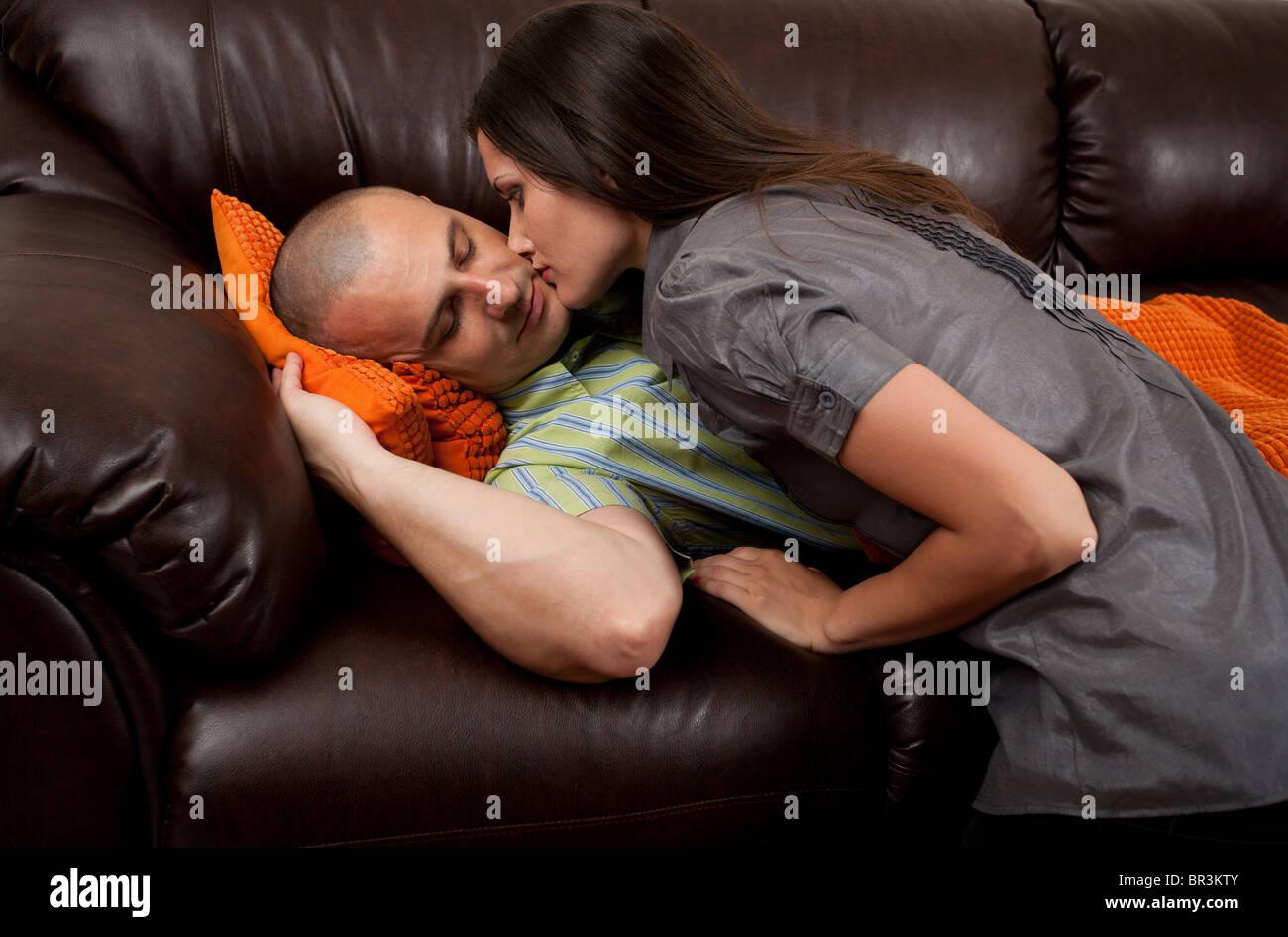 Wife sleeping on sofa remarkable, very