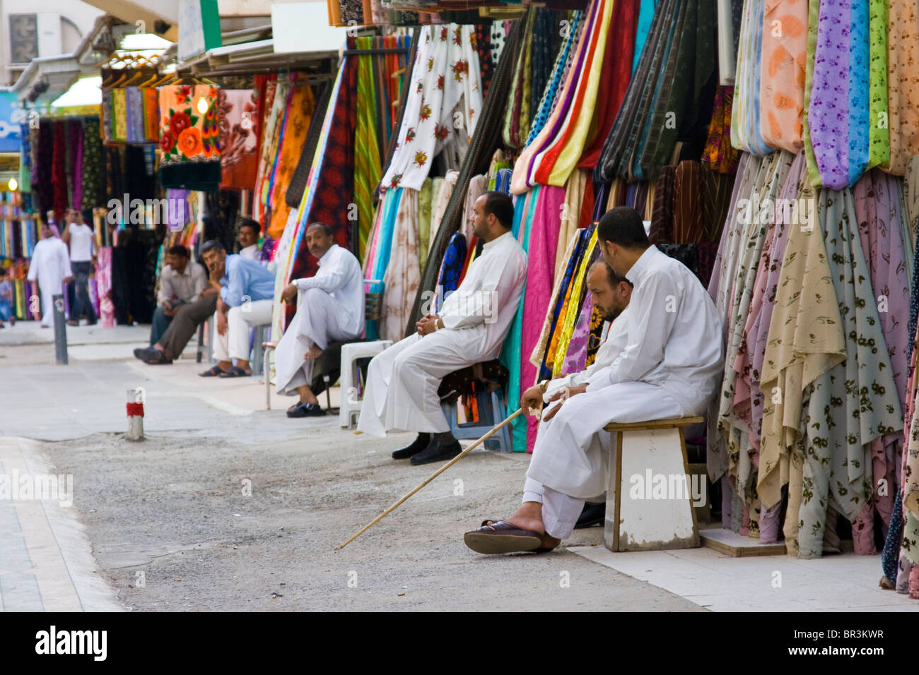 Textile vendors in the Old Souk in Kuwait City, Kuwait - Stock Image