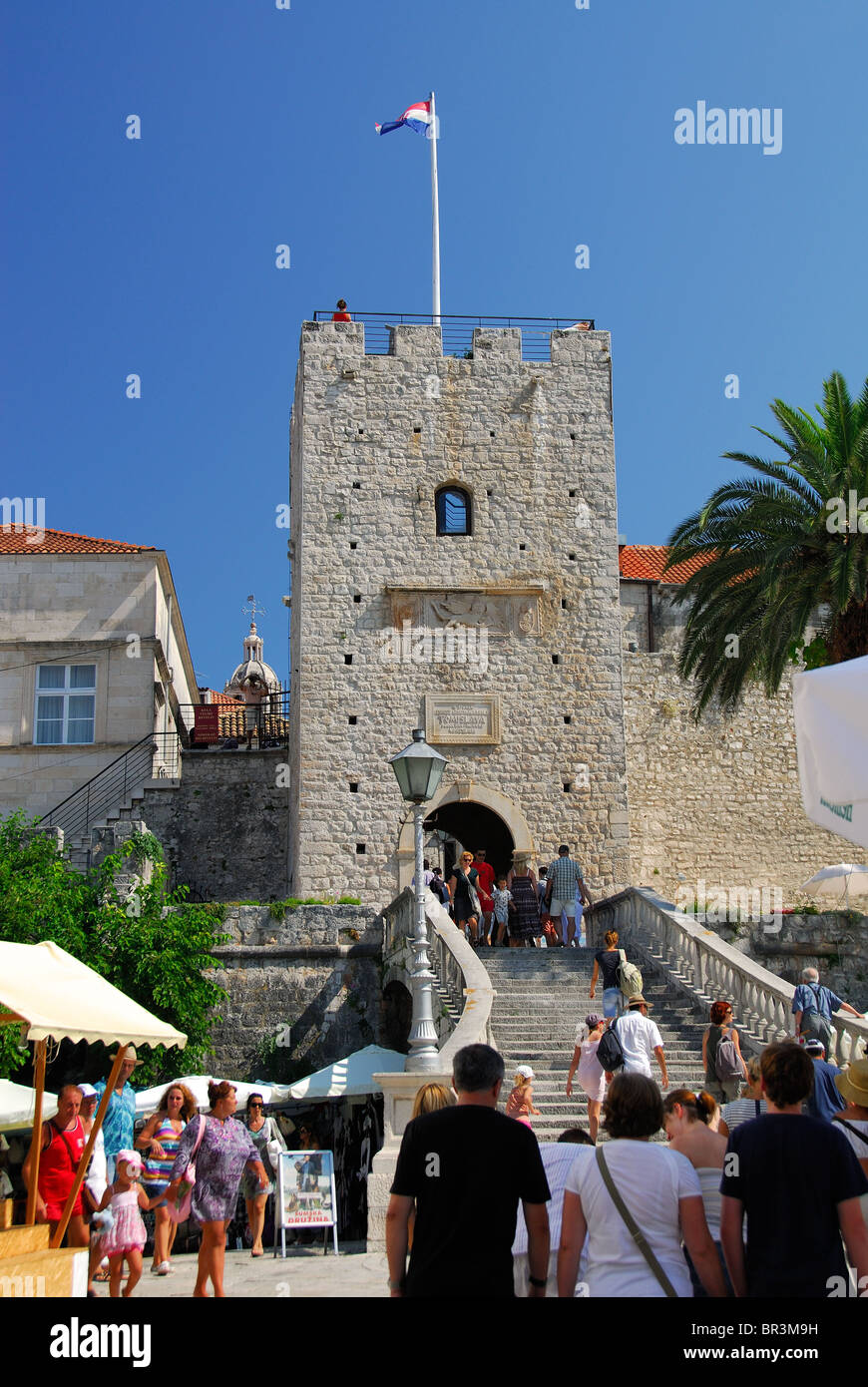 KORCULA, CROATIA. The Land Gate and Revelin in Korcula Town on Korcula Island. - Stock Image