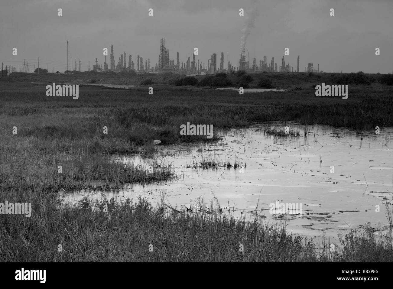 Oil refinery effects in Corpus Christi, Texas. - Stock Image