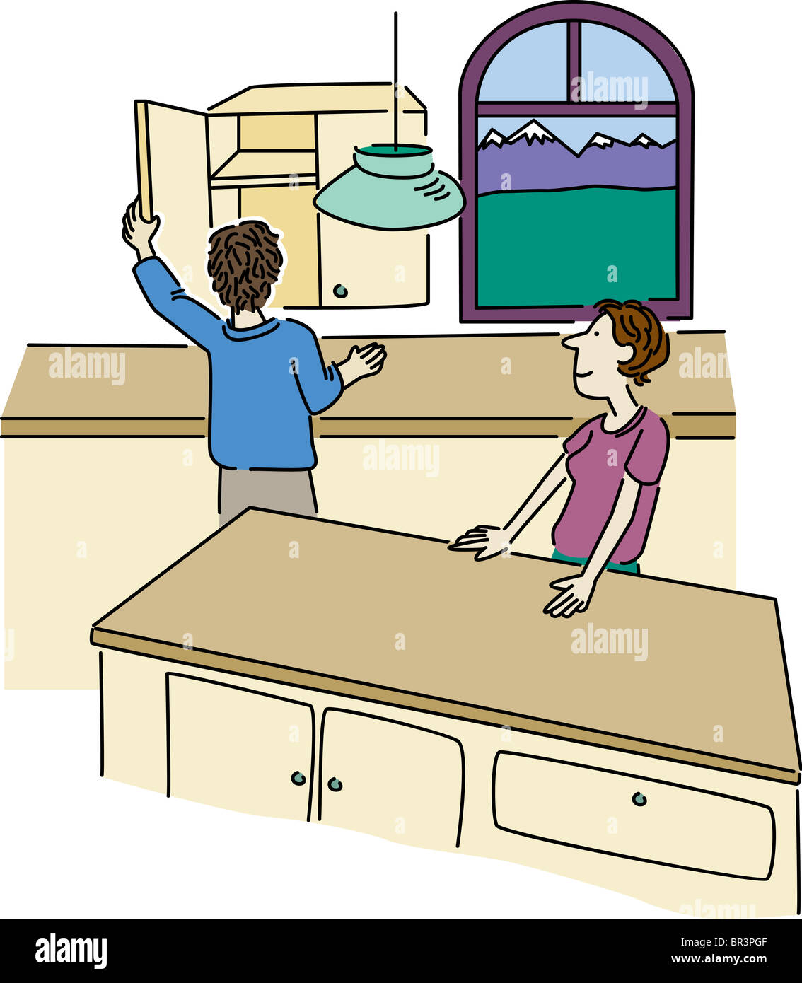 Empty Kitchen Cupboard: Kitchen Cabinet Cartoon Stock Photos & Kitchen Cabinet