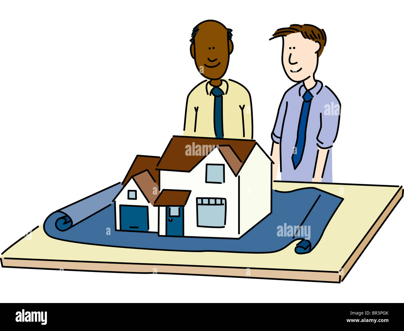 Two men looking a model of a house on a blue print - Stock Image