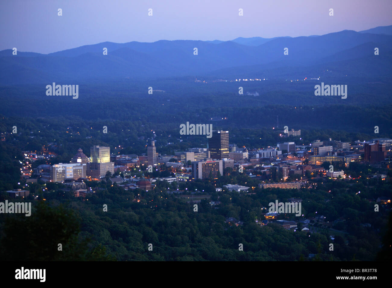 Twilight view of the heart of downtown Asheville, NC as seen from town mountain. Stock Photo