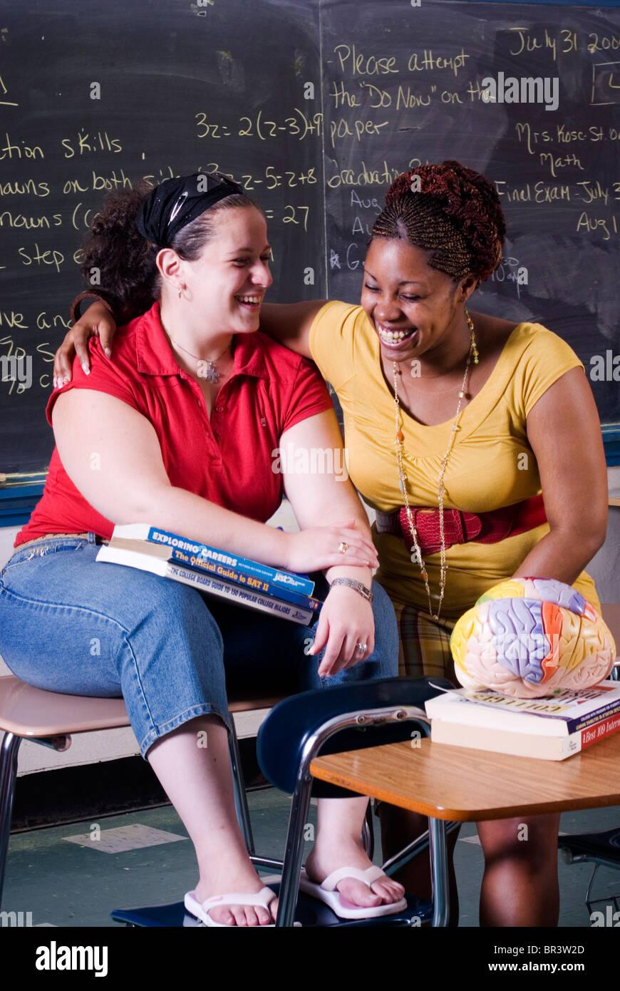 Mentoring program at Harding High School in Bridgeport CT helps seniors move on to college. - Stock Image
