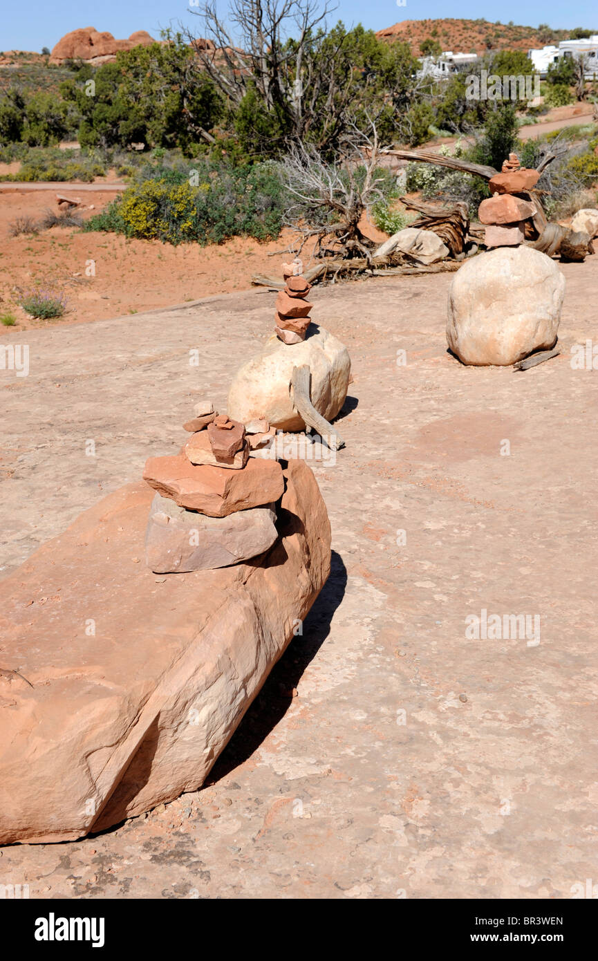 Cairns in Arches National Park Moab Utah - Stock Image