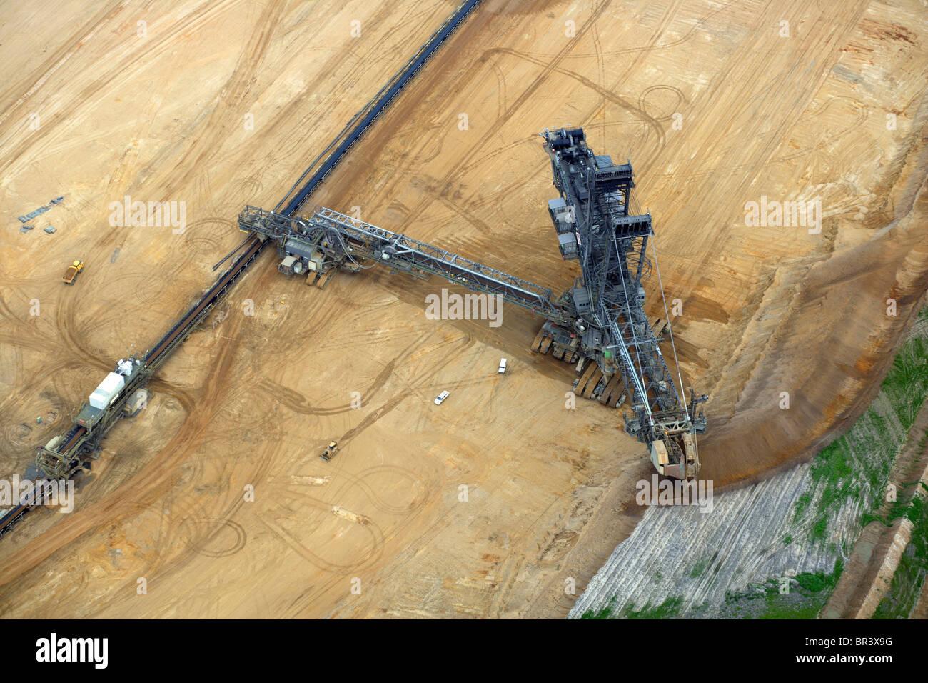 bucket-wheel excavator at brown coal surface mining, Germany, North Rhine-Westphalia, Hambach - Stock Image