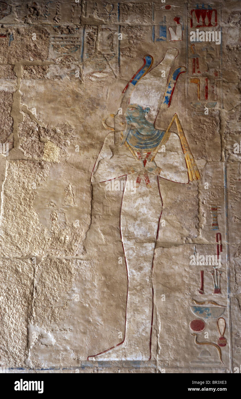 Osiris. Polychrome limestone reliefs from the Temple of Hatshepsut. Deir El-Bahari. Egypt. - Stock Image