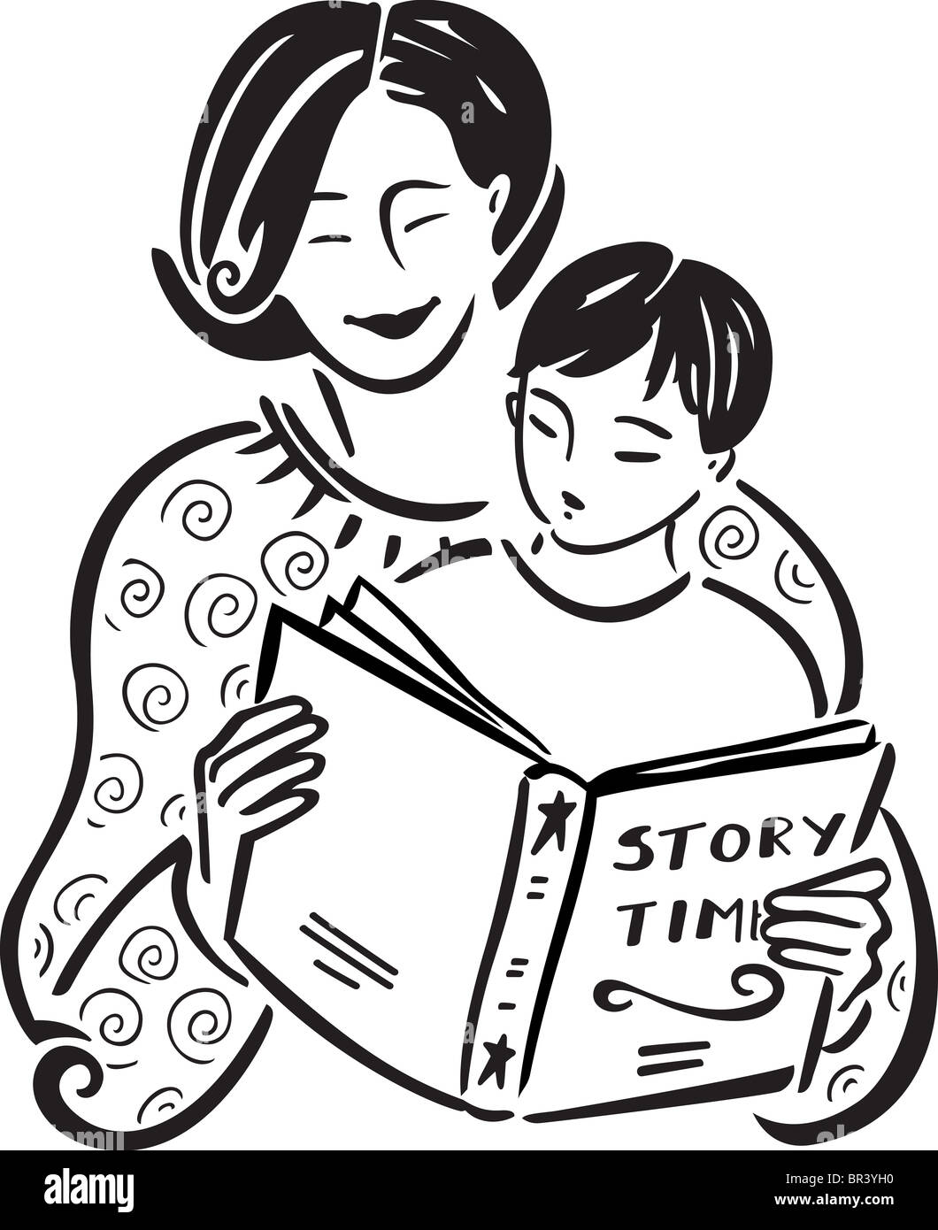 Parents Reading With Children Clipart