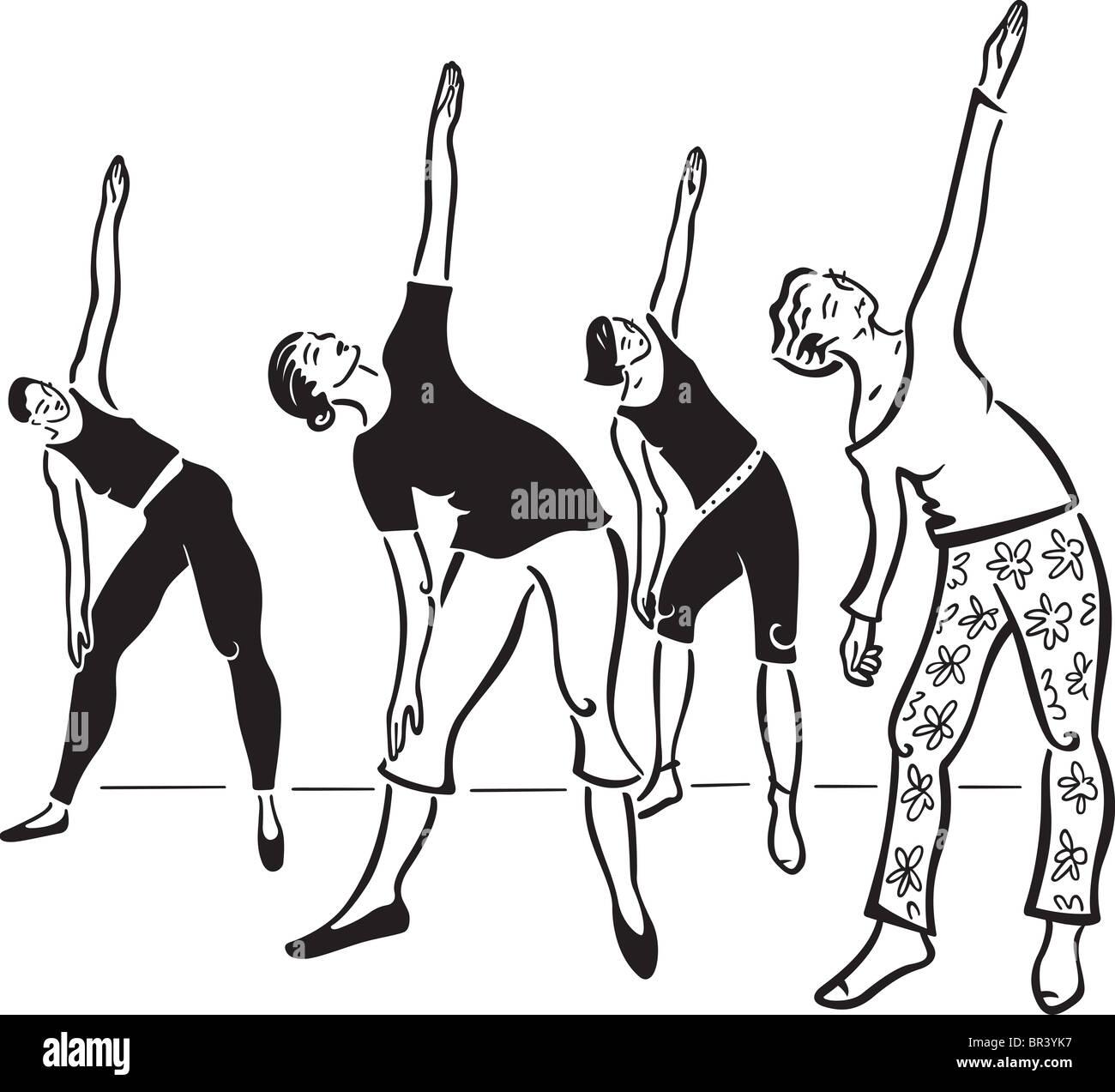 Women stretching - Stock Image