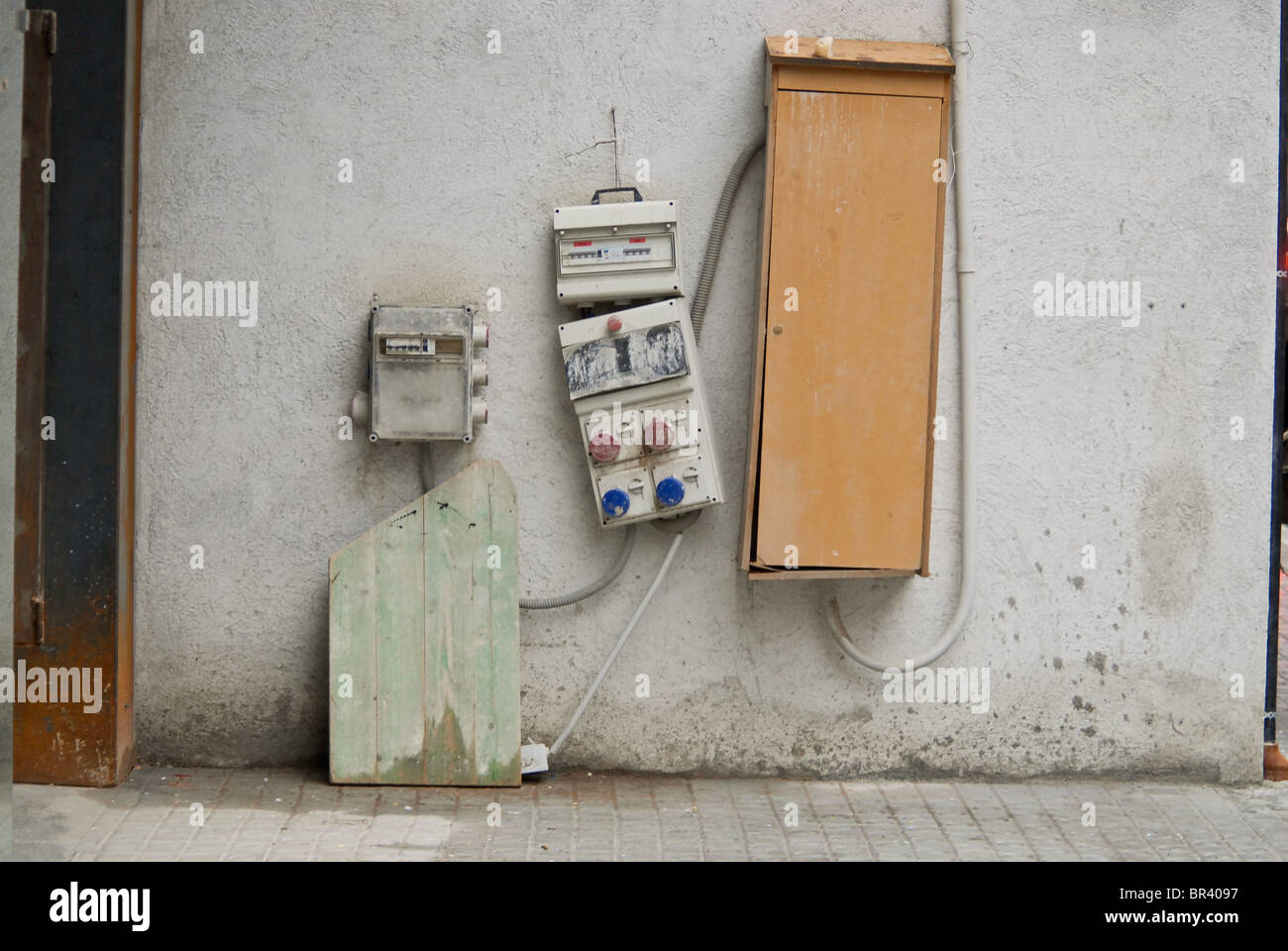 A temporary electrical power supply to a building site - Stock Image