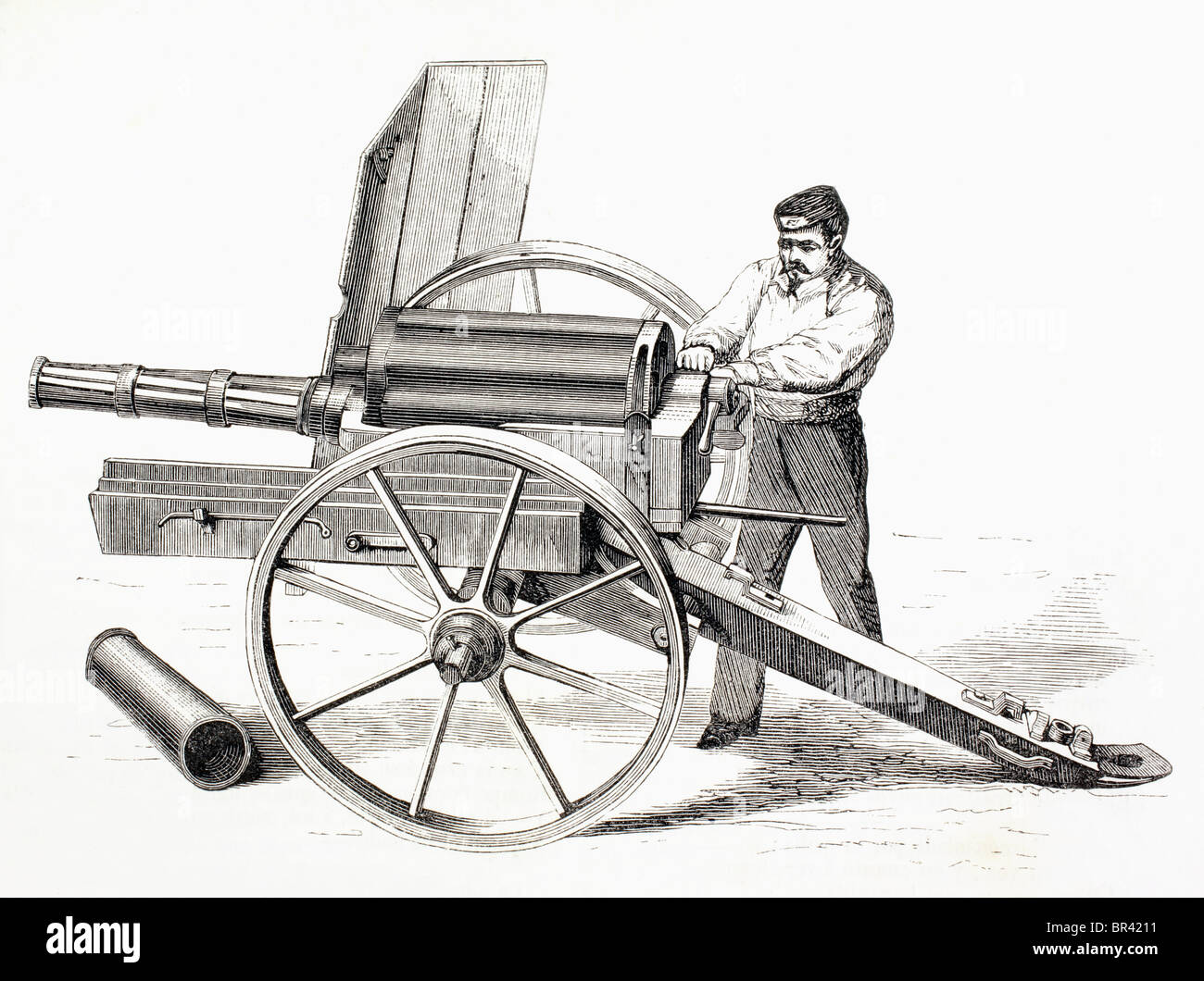 Revolving cannon patented by J.A. de Brame in 1861. - Stock Image