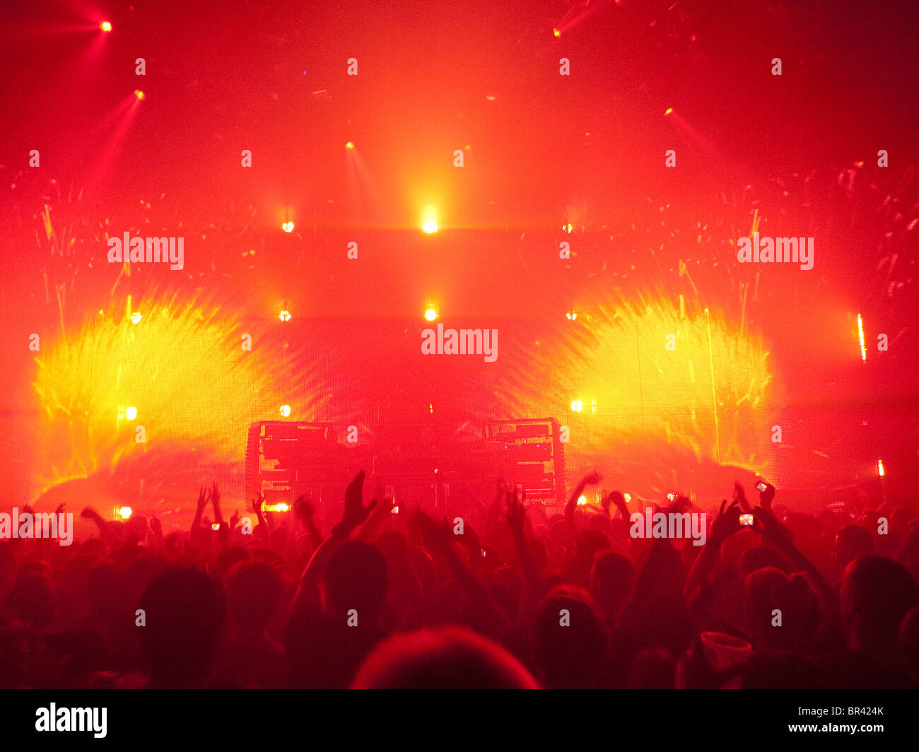 A crowd of people at a concert at The Roundhouse in London Britain - Stock Image