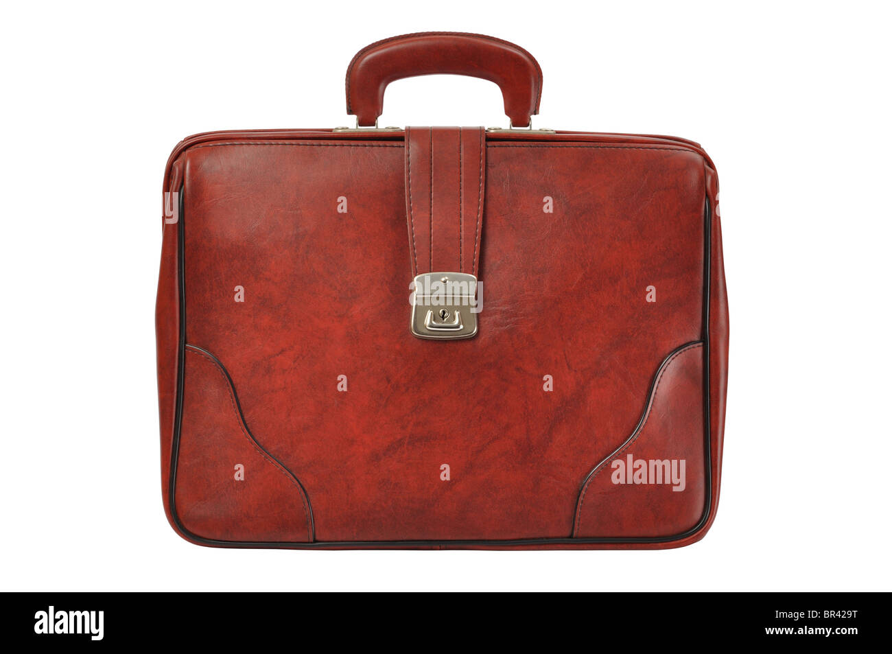 Brown Leather Briefcase - Stock Image