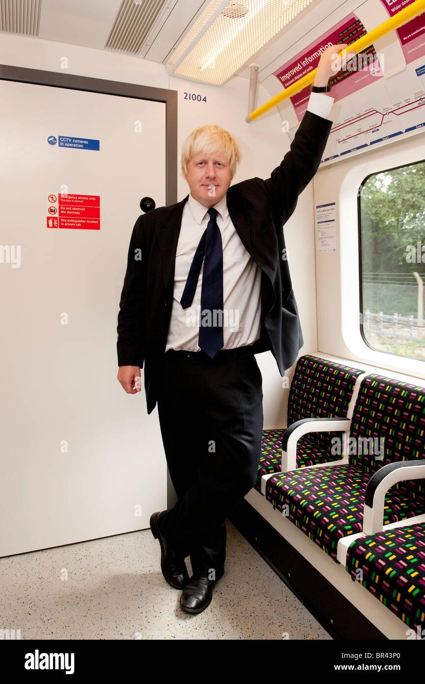 Boris Johnson, the Mayor of London, on a brand new London Underground train, England. - Stock Image