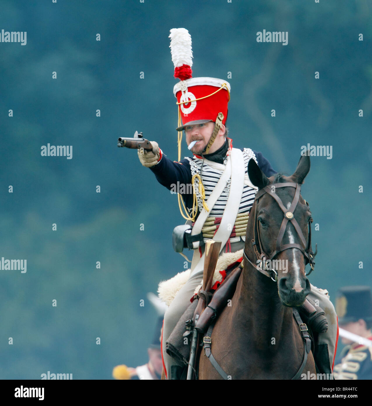 Firing a pistol, Napoleonic French Cavalry - chasseurs 1804-1815 They were light/line cavalry armed with carbines, - Stock Image