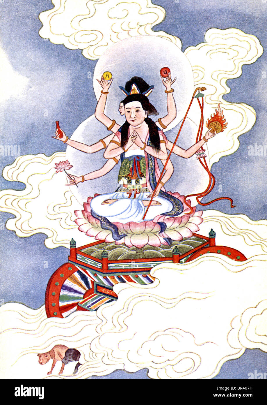 According to Chinese mythology, Tou Mu , or Goddess of the North Star, is worshiped by both Buddhists and Daoists - Stock Image