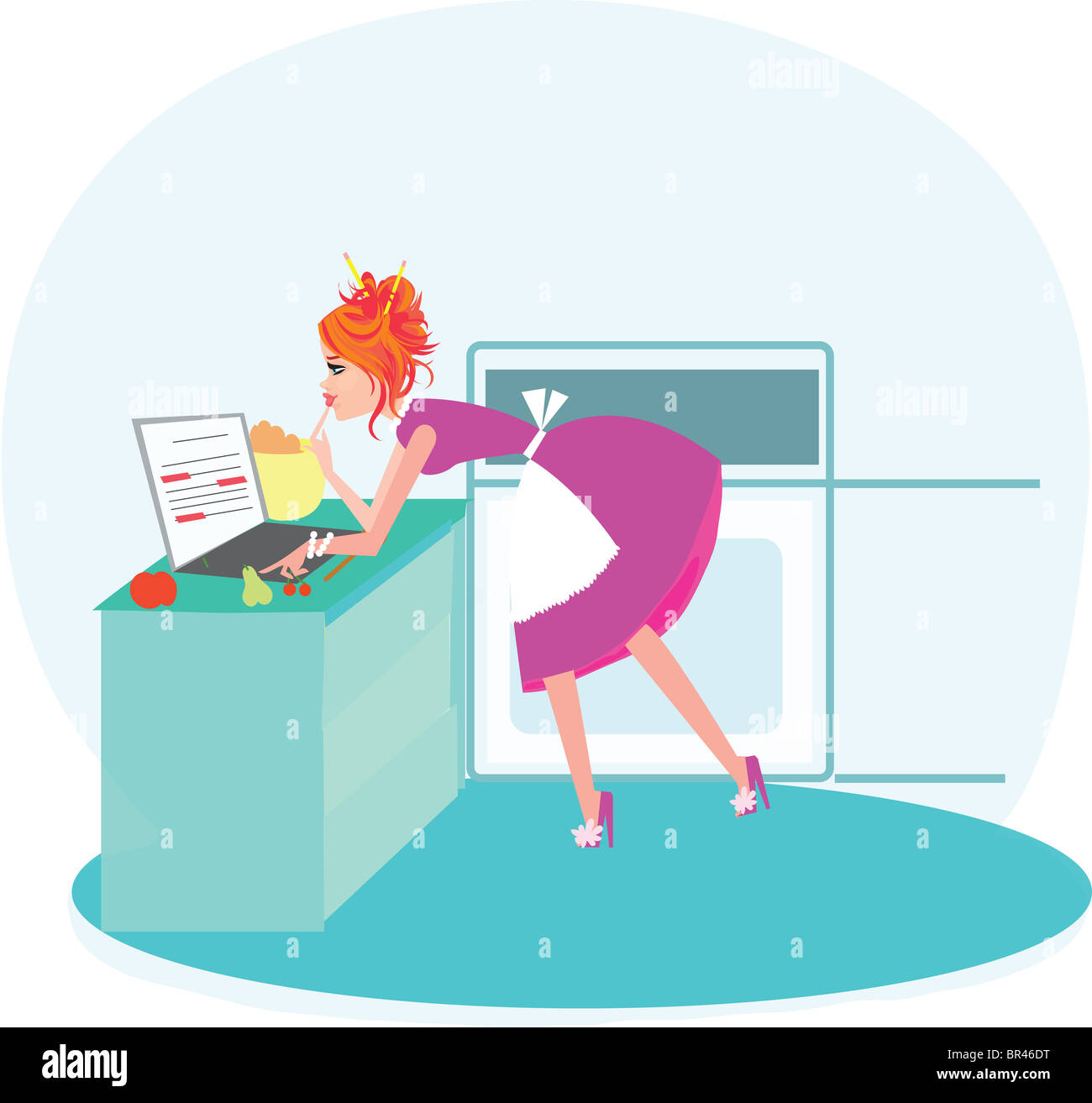 A woman typing on her laptop while cooking - Stock Image