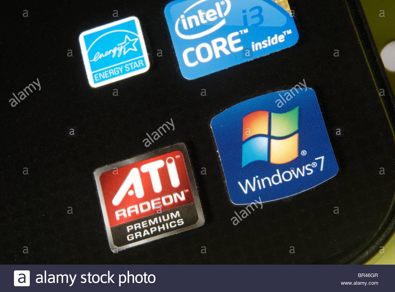 Stickers on a Sony Vaio laptop computer showing software ATI Radeon premium graphics and Windows 7. - Stock Image