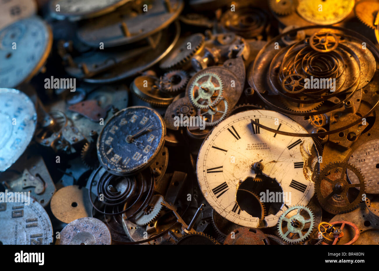 Pocket watch parts still-life, extremely detailedStock Photo