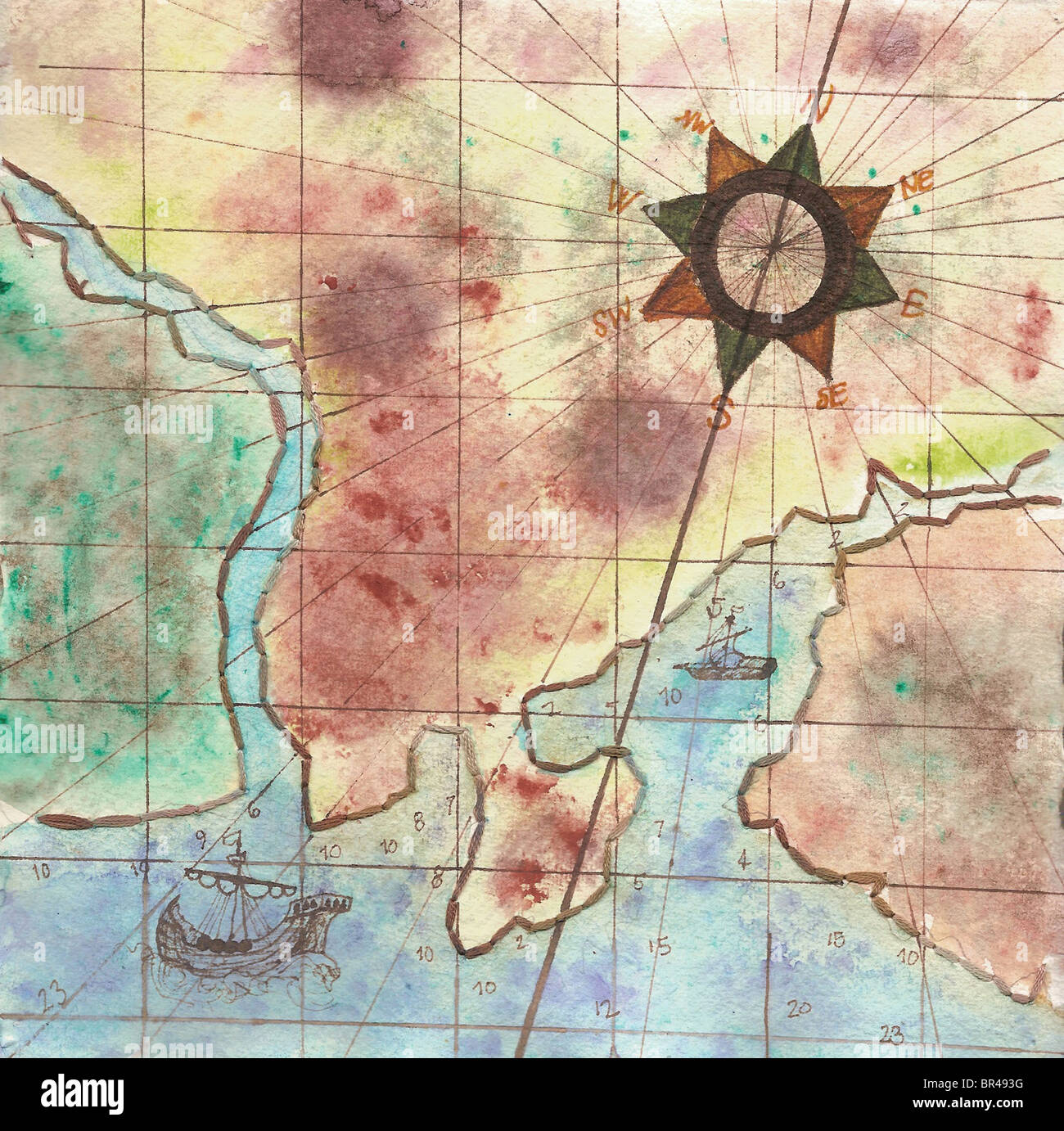 A painting on textured paper of a map and compass - Stock Image