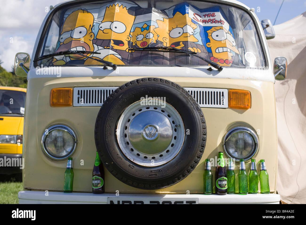 Spray Painted Volkswagen Camper Van - Stock Image