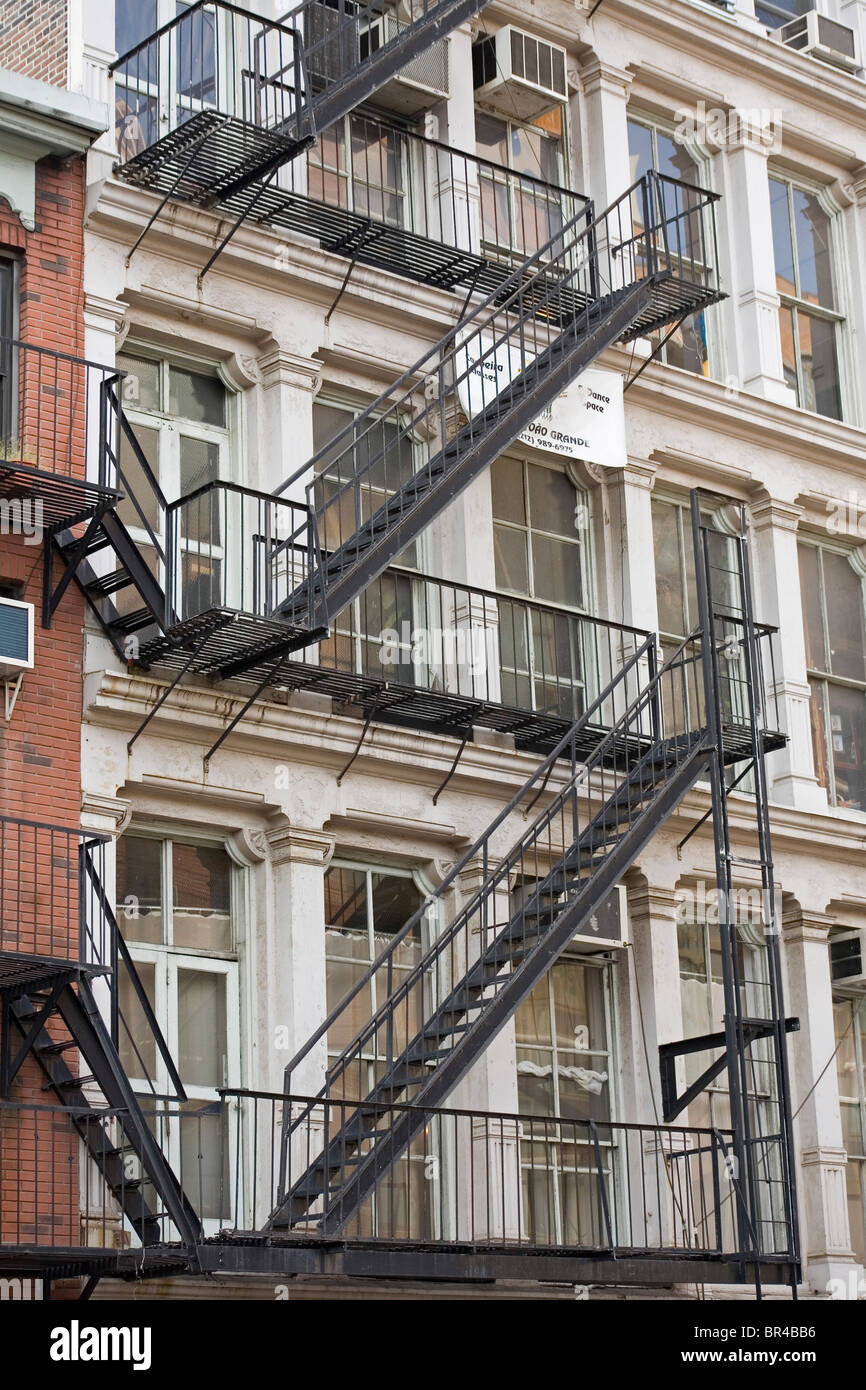 External Fire Exits Staircases On Apartment Blocks In New York