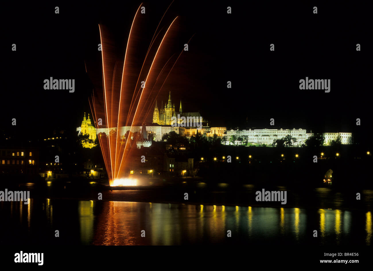 Fireworks at Moldau River in front of Prague Castle with the St. Vitus Cathedral on the Hradčany, Prague, - Stock Image