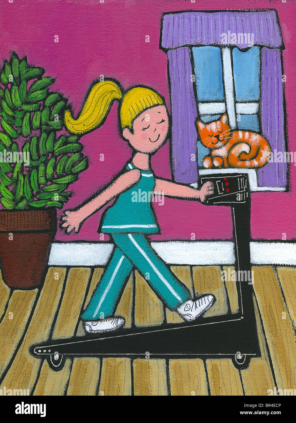 A woman walking on her treadmill Stock Photo