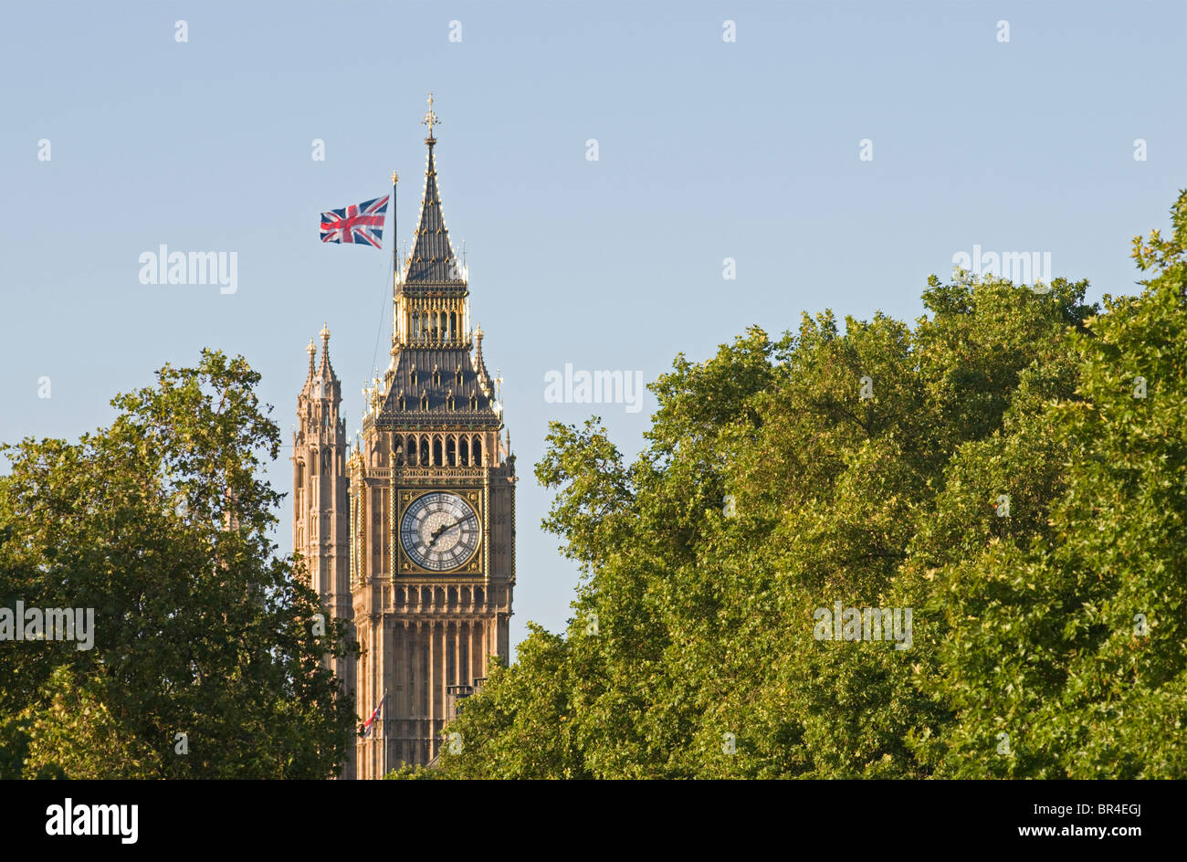 Houses of Parliament, Palace of Westminster clock tower 'Big Ben', London, United Kingdom - Stock Image