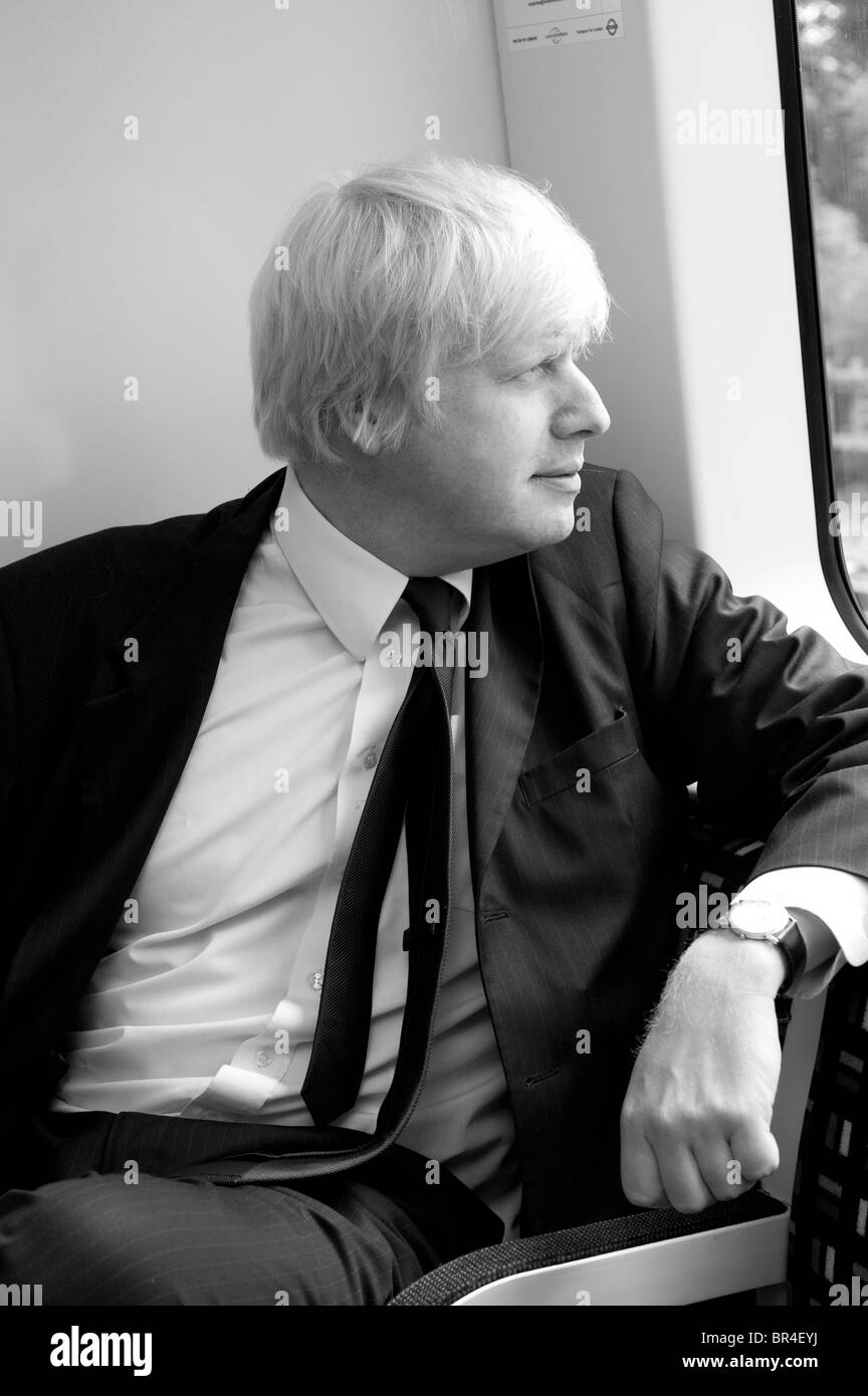 Boris Johnson, the Mayor of London, on a brand new London Underground train, England. - Stock Image