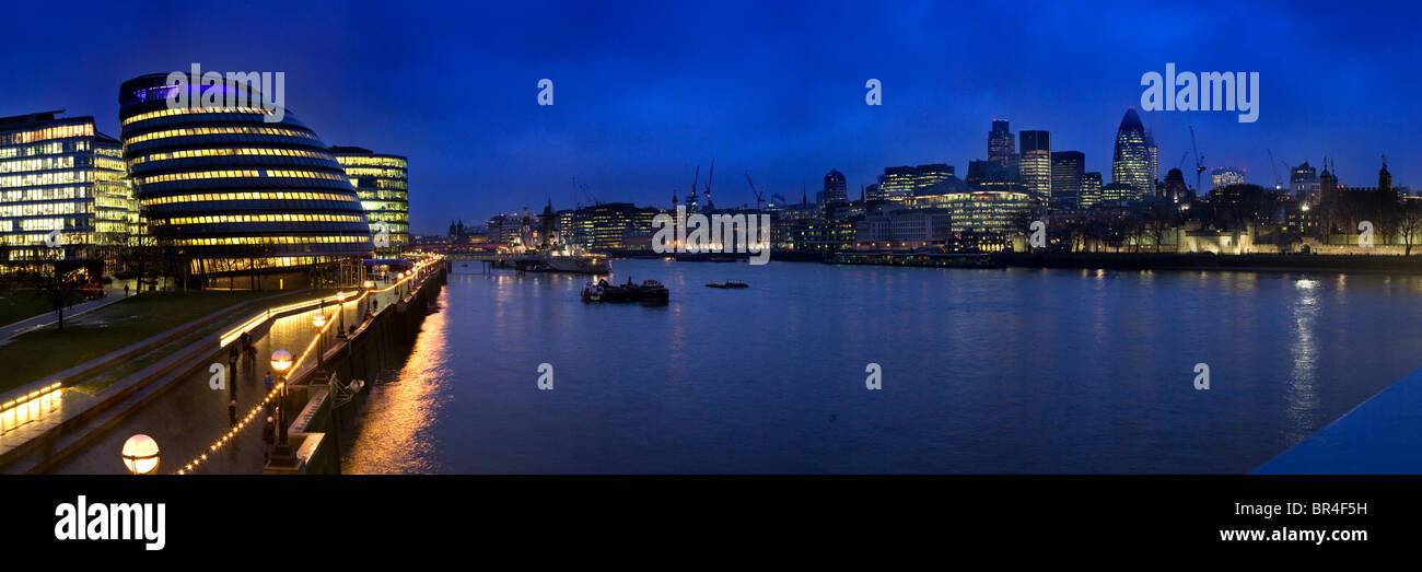 The London Assembly Building (City Hall), River Thames and City Skyline, London, England - Stock Image