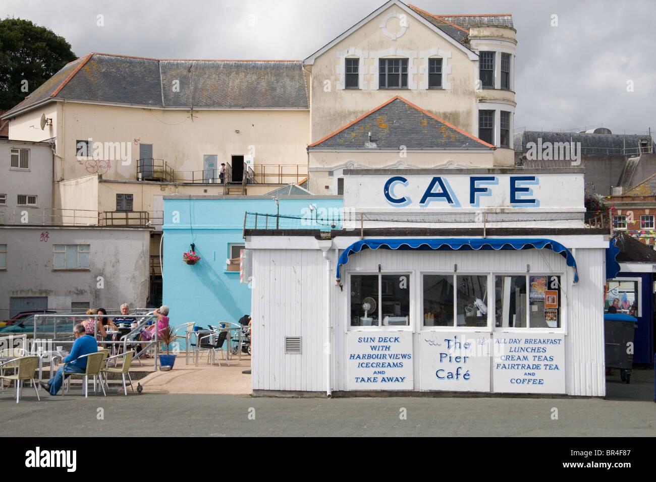 A café on the pier at Falmouth, Cornwall - Stock Image