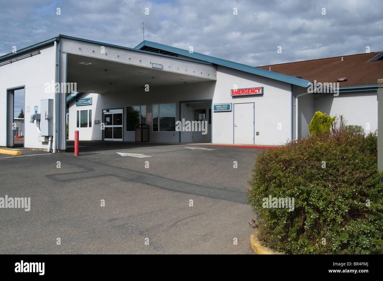 Emergency entrance to the Forks Community Hospital in Forks, Washington. - Stock Image