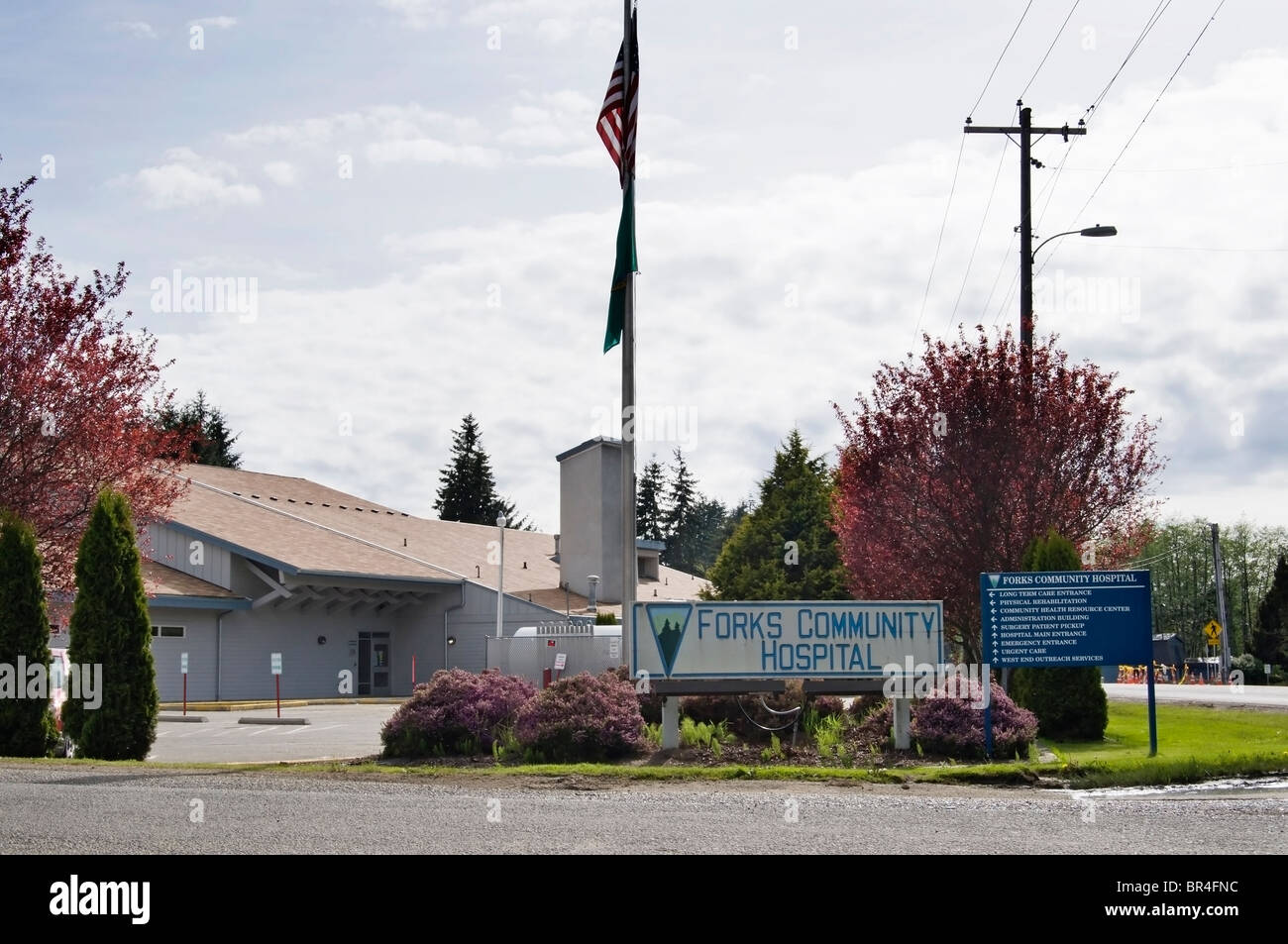 Front view of Forks Community Hospital in Forks, Washington. - Stock Image