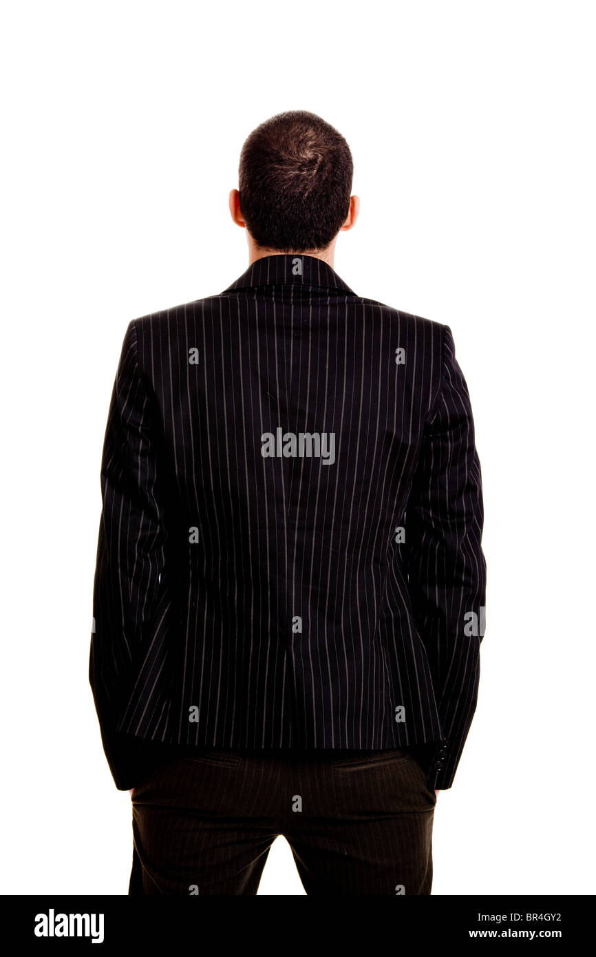 Back view of a businessman, isolated on white background - Stock Image