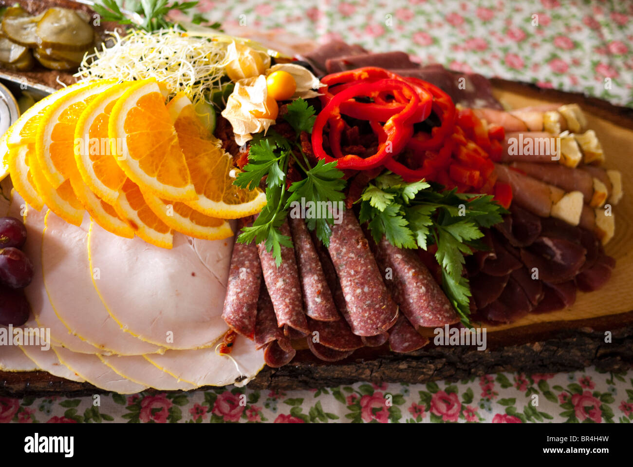 Board with different charcuterie - Stock Image