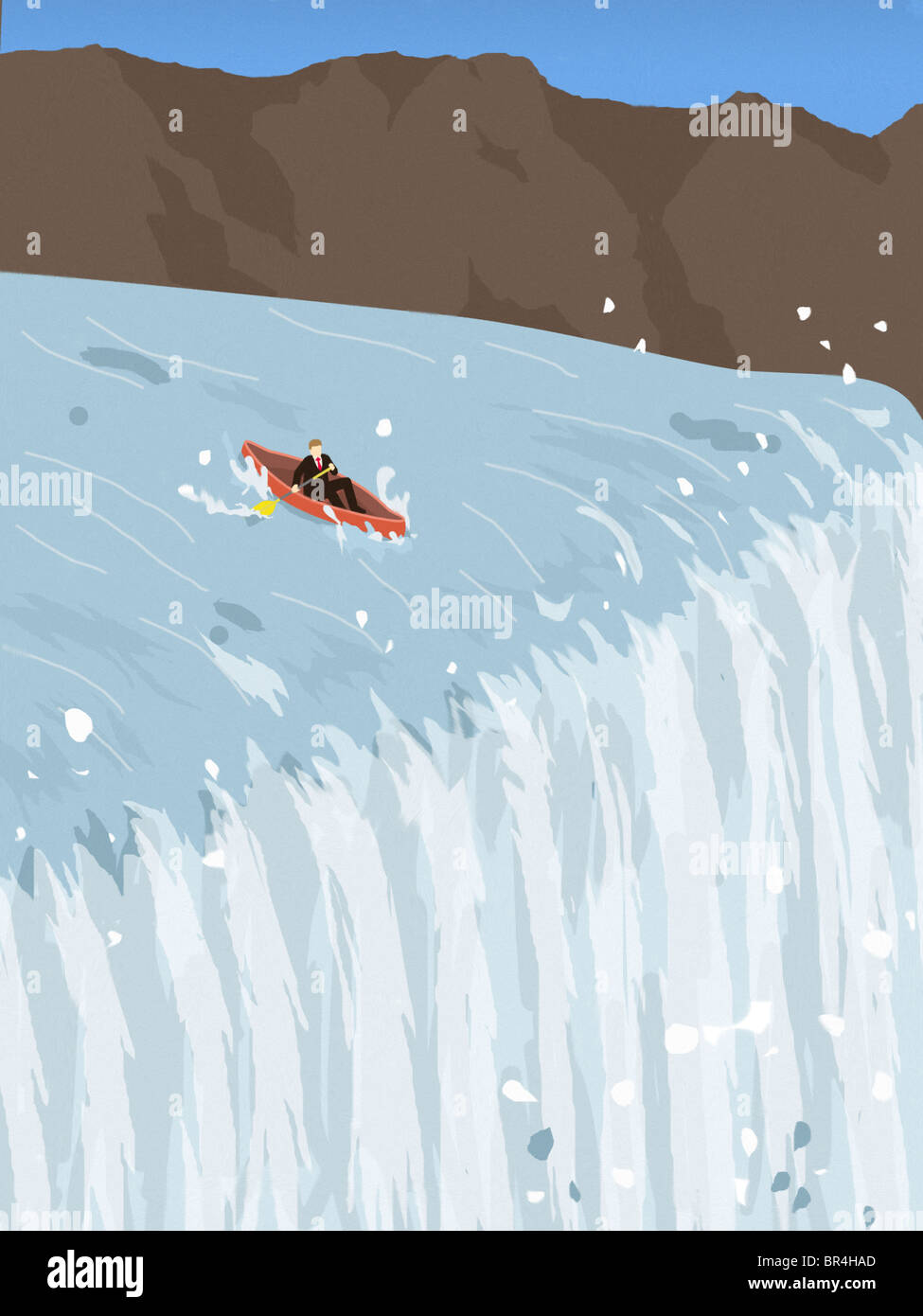 A Businessman In A Canoe Trying To Avoid Going Over A