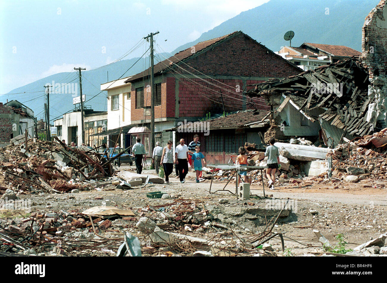 A view of the destruction of Peja, Kosovo. Stock Photo
