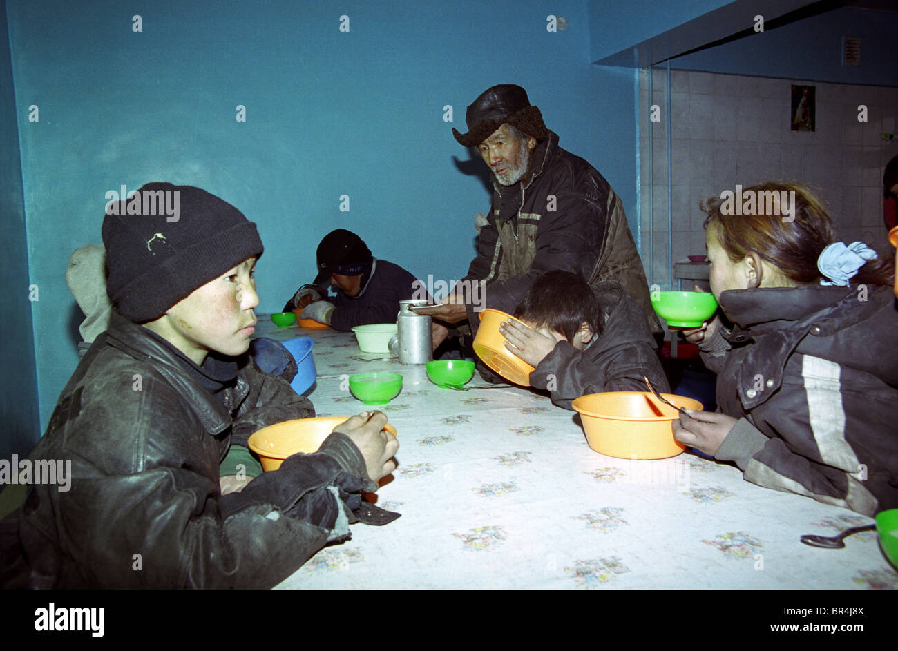 Street kids having lunch in a soup kitchen Ulaan Baatar Mongolia ...