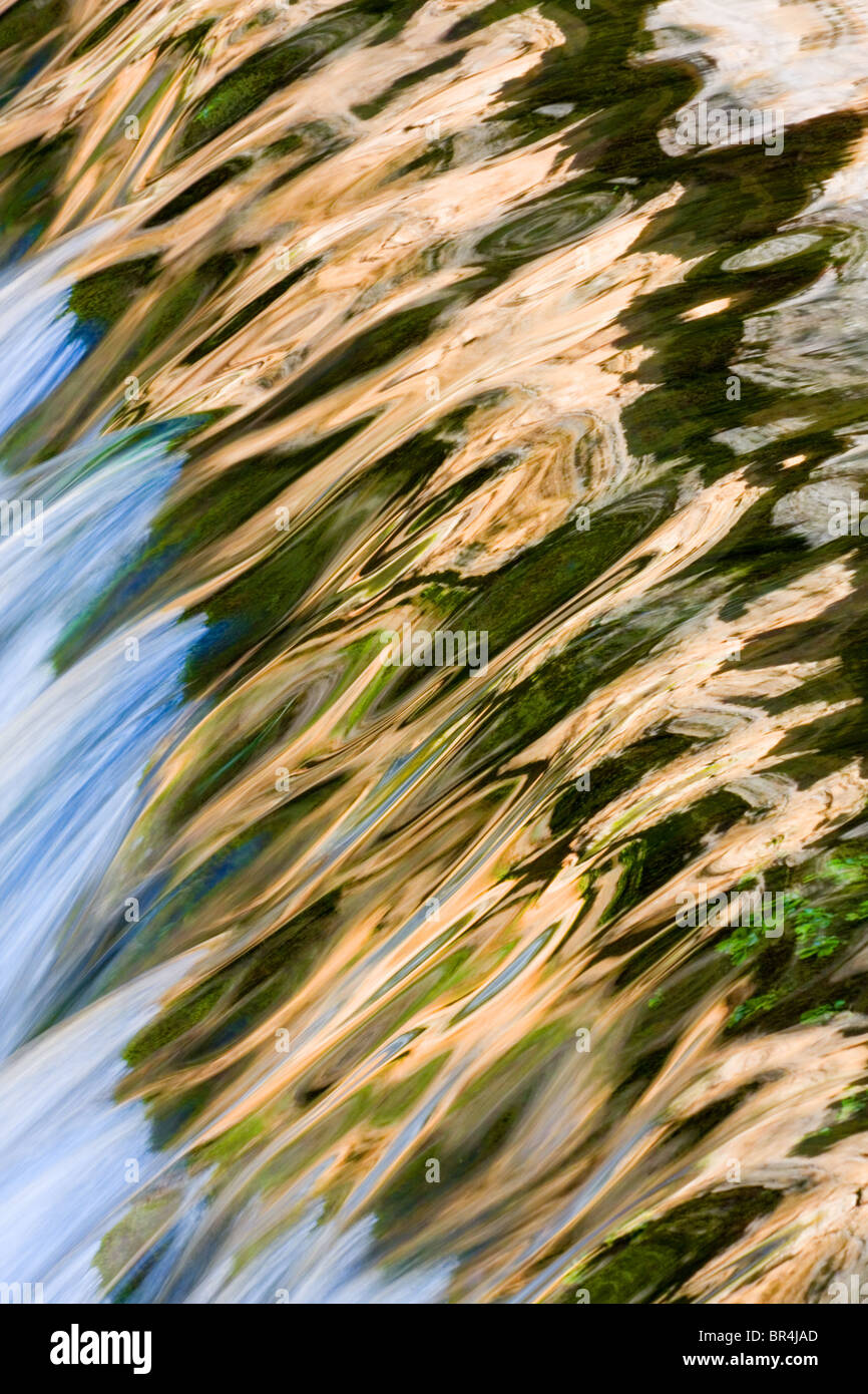 Reflections in running water, Cazorla National Park, Jaen Province, Spain - Stock Image