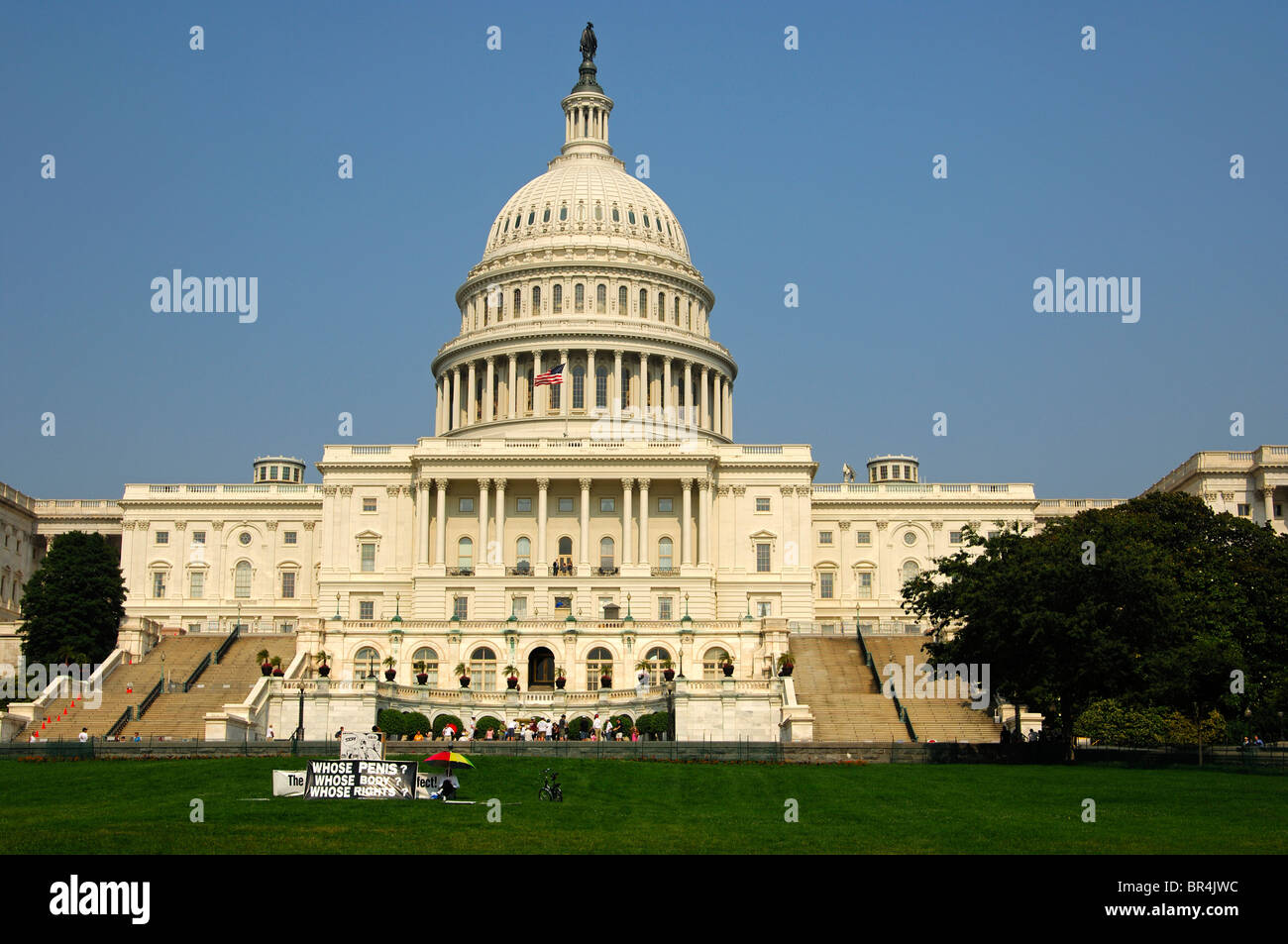 Protest action against the male genital mutilation through circumcision at the United States Capitol, Washington, - Stock Image