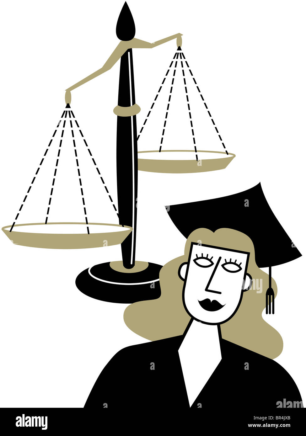 A woman in a graduation cap and gown in front of the Scales of Stock ...